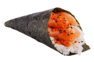 temaki spicy salmon sushi